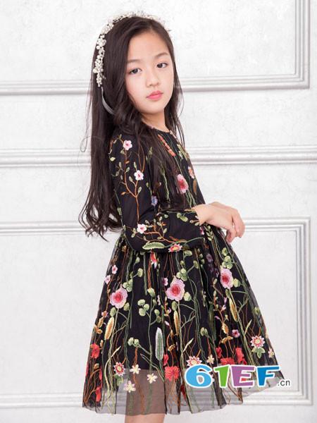 OKstar欧卡星童装品牌2017年秋冬网纱七分袖重工刺绣花朵仙女气质高腰长款连衣裙