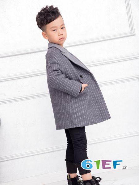 OKstar欧卡星童装品牌2017年秋冬韩式条纹大气西装领男外套