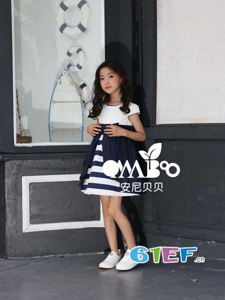 onnabobo安尼贝贝童装品牌2018年春夏新品时尚拼接条纹个性连衣裙