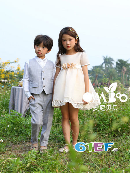onnabobo安尼贝贝童装品牌2018年春夏新品公主蓬蓬系花连衣裙