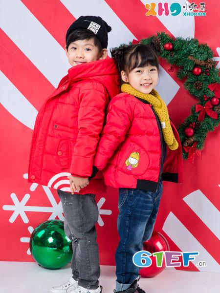 小红豆童装童装品牌2017年秋冬时尚可爱红色男女保暖羽绒服