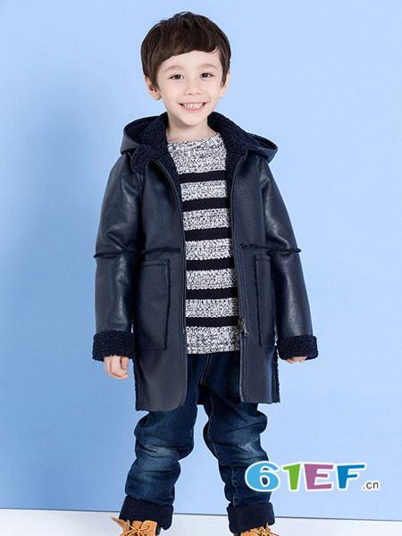 ULLU 优露童装品牌2017年秋冬时尚休闲保暖PU皮外套