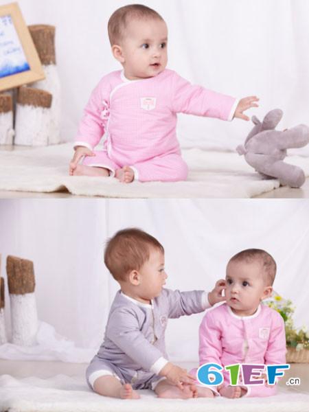 bh&baby童装品牌2017年秋冬纯棉舒适婴儿哈衣内衣家居服