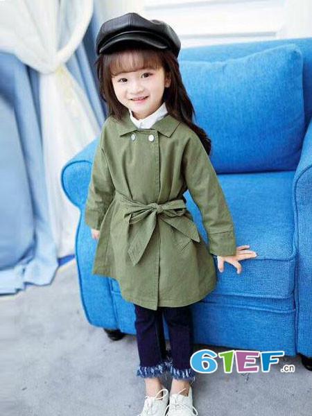 思曼贝贝童装品牌2018年春夏韩式优雅系带女风衣