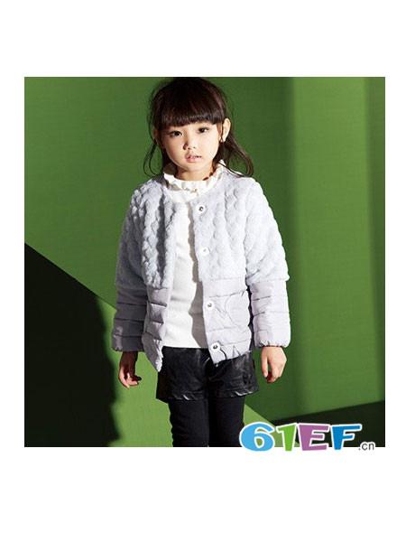 宝蒂巴拉童装品牌2017年秋冬韩式简约保暖毛绒女外套