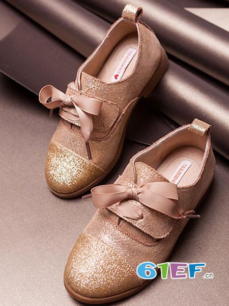 桃涩童鞋品牌2017年秋冬英伦系带公主女鞋