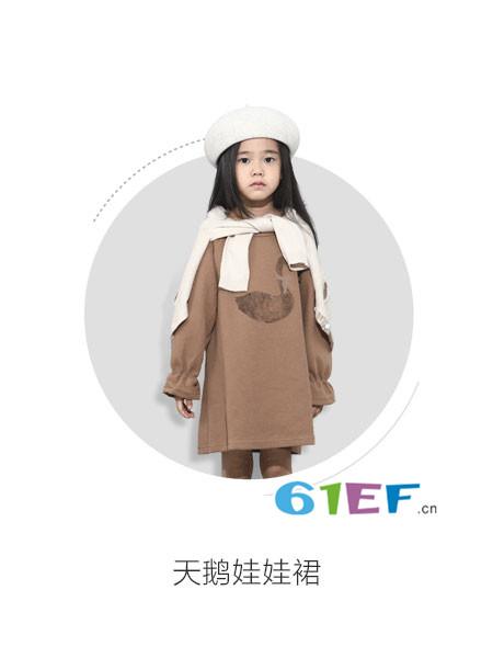 纸胡椒童装品牌2017年秋冬休闲连帽开叉女卫衣