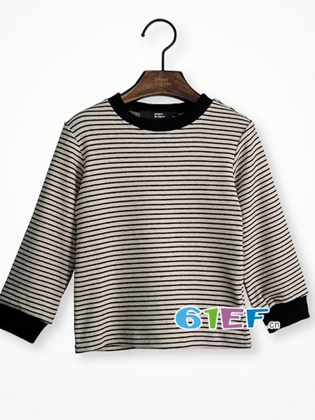 纸胡椒童装品牌2017年秋冬时尚条纹保暖男T恤