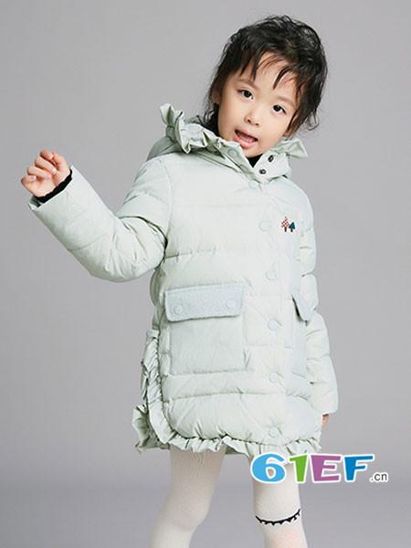Viciusss童装品牌2017年秋冬女童连帽花边加厚羽绒服
