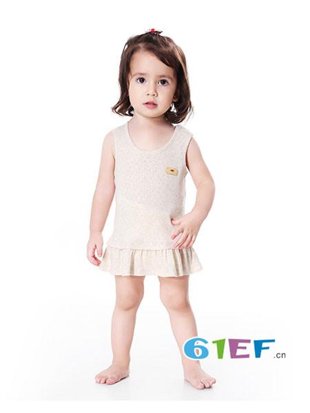 明德任责童装品牌有机彩棉夏季薄款短裙 螺纹提花背心裙
