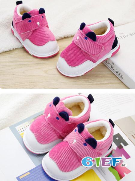 广迪童鞋品牌保暖 纯色冬季棉鞋学步鞋 叫叫鞋