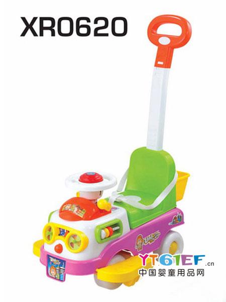 俏车子婴童用品四轮儿童滑行车扭扭车万向轮带推把脚踏护栏小车