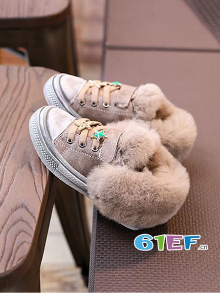 森林大王童鞋品牌2017秋冬休闲鞋女童毛口加棉皮鞋加绒运动板鞋