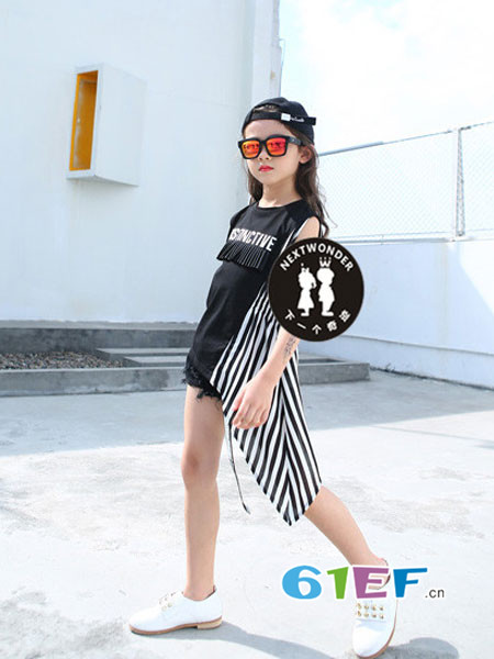 下一个奇迹童装品牌2018春夏时尚休闲个性拼接女上衣