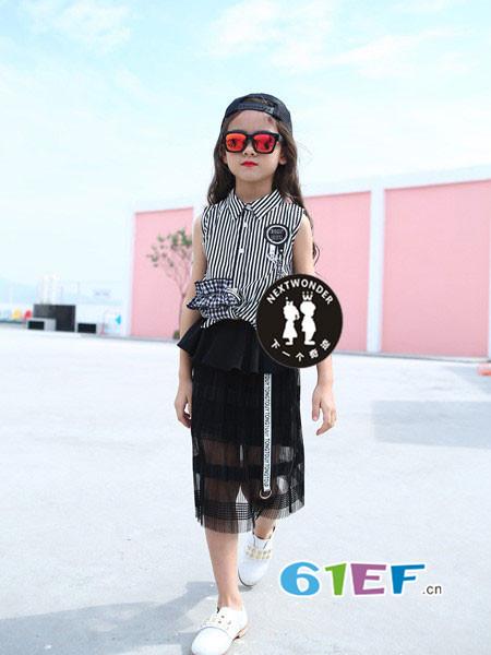 下一个奇迹童装品牌2018春夏时尚休闲条纹百搭无袖女衬衣