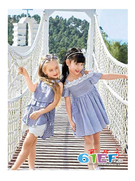 品牌童装童装品牌2018春夏木耳边领褶皱条纹裙衫连衣裙
