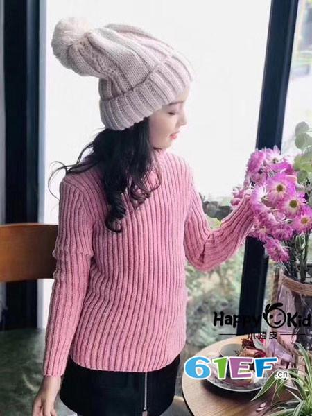 小嗨皮童装品牌2018春夏时尚保暖半高领百搭女毛衣