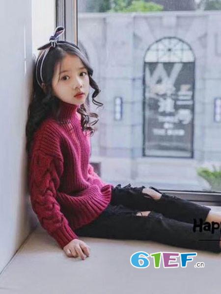 小嗨皮童装品牌2018春夏时尚优雅高领麻花袖毛衣