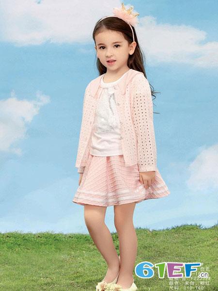 卡莎梦露童装品牌儿童外套薄款韩版i潮女童针织开衫套装