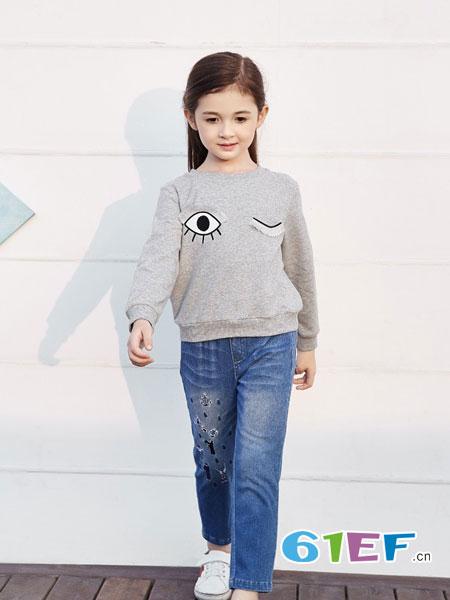 卡莎梦露童装品牌纯色百搭圆领上衣