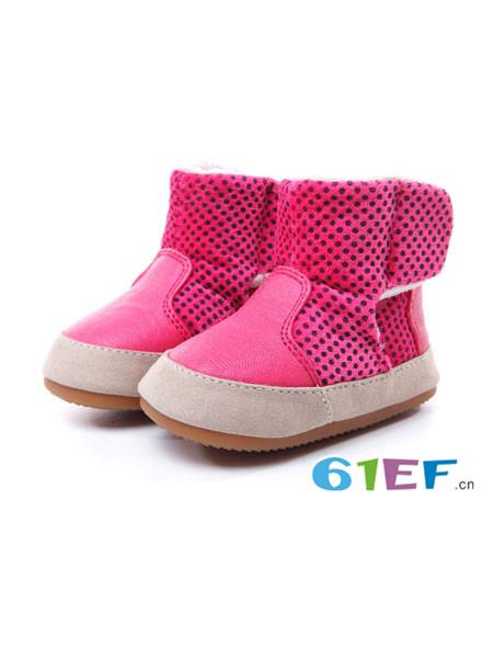 贝比豆童鞋品牌2017秋冬女童学步鞋宝宝软底靴子雪地靴