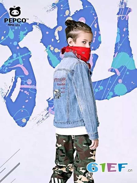 小猪班纳童装品牌2018春夏牛仔印花韩版修身外套