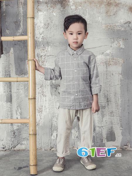 BB.T蚌蚌唐童装品牌2018春夏文艺时尚格子男衬衣