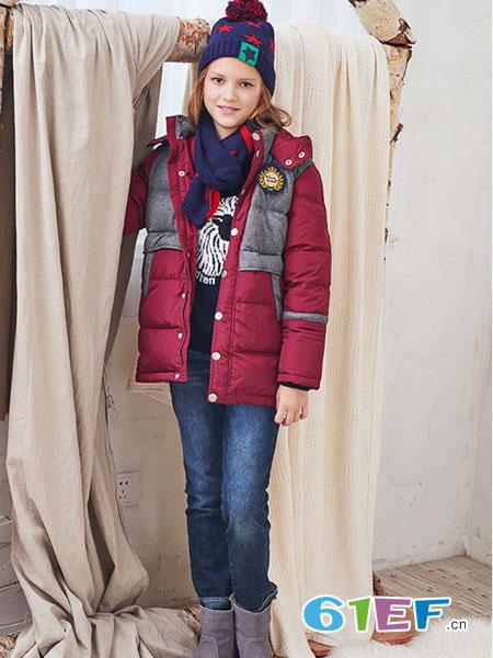 伊顿风尚童装品牌2017冬季修身中长款羽绒服