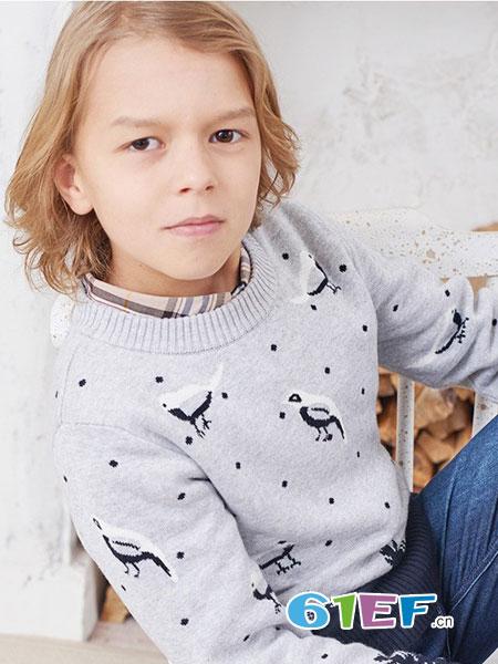 伊顿风尚童装品牌2017冬季针织圆领百搭上衣