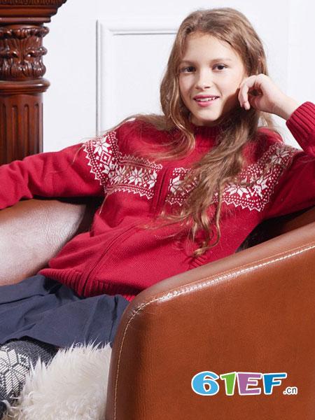 伊顿风尚童装品牌2017冬季时尚印花毛衣外套