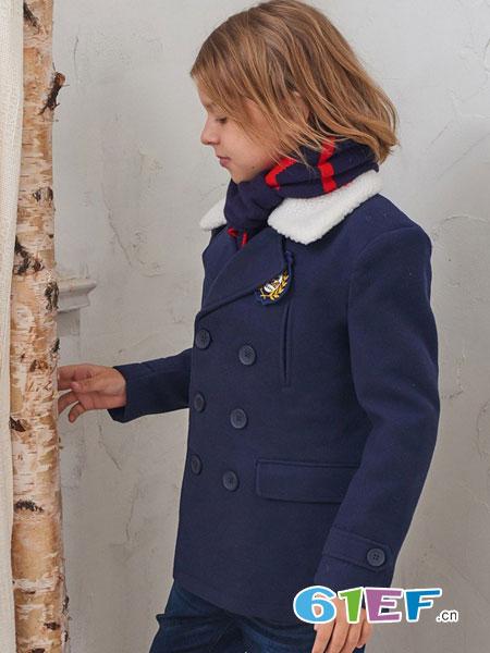 伊顿风尚童装品牌2017冬季修身翻领毛呢外套