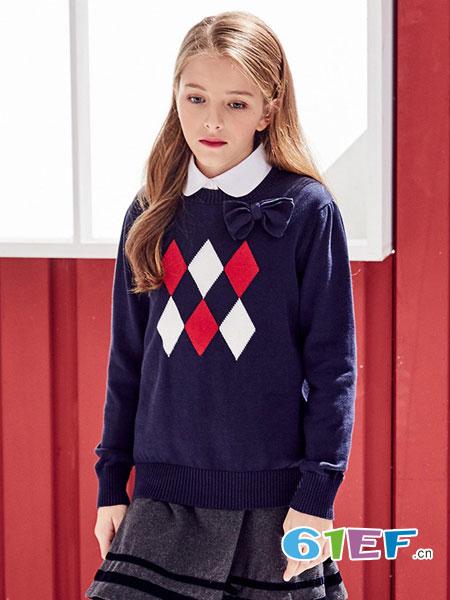 伊顿风尚童装品牌2017冬季针织百搭长袖上衣
