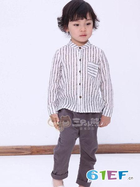 三只小熊童装品牌2017秋冬时尚竖条纹衬衫