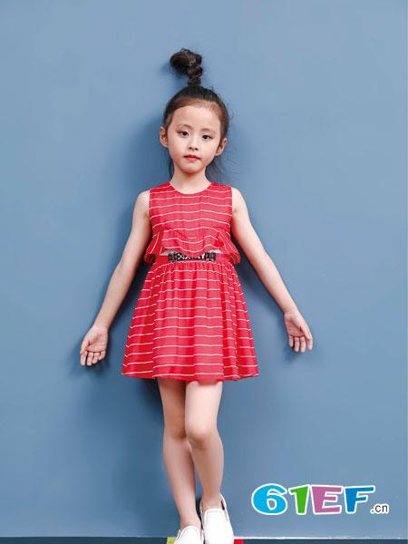 班吉鹿banjilu童装品牌2018春夏时尚条纹修身连衣裙
