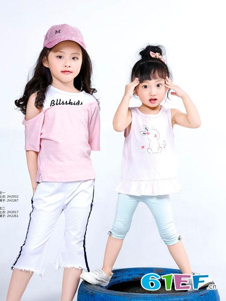 班吉鹿banjilu童装品牌2018春夏时尚圆领字母印花T恤上衣