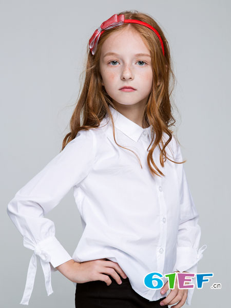 poipoilu(泡泡噜)童装品牌2018春夏简约纯色修身绑带长袖立领衬衫