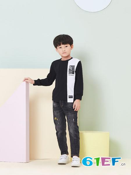 贝布熊BeiBuXiong童装品牌2018春夏纯棉休闲拼色长袖上衣