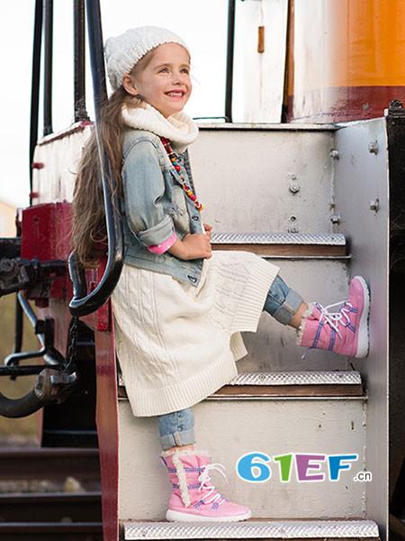 KIDS.ING童鞋品牌2017秋冬防水儿童雪地靴女童加绒时装靴男童短靴宝宝靴子