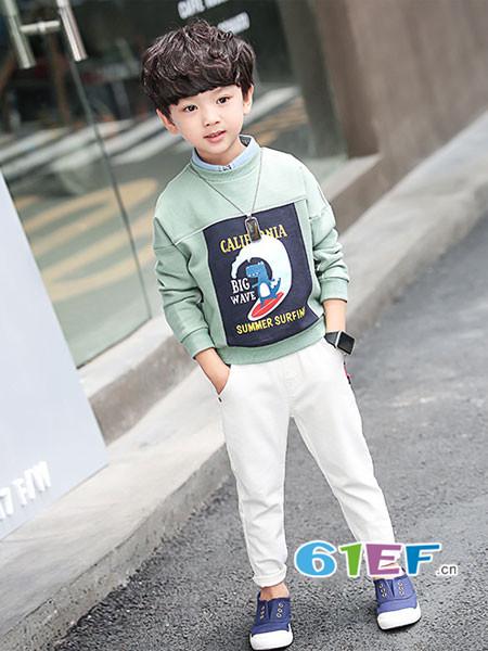 多多家童装品牌2018春男童卡通卫衣春装新款宝宝套头衫