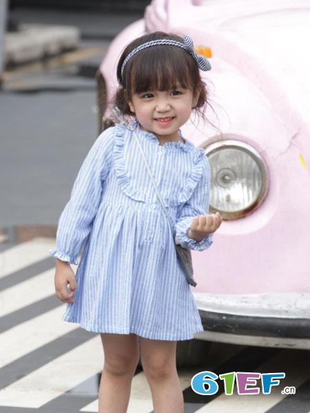 嫲豆阁童装品牌2018春夏修身可爱竖条纹连衣裙