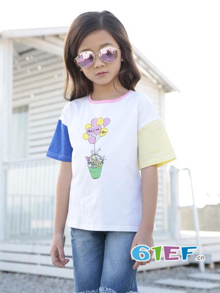 土巴兔童装品牌2018春夏时尚休闲拼接短袖女T恤