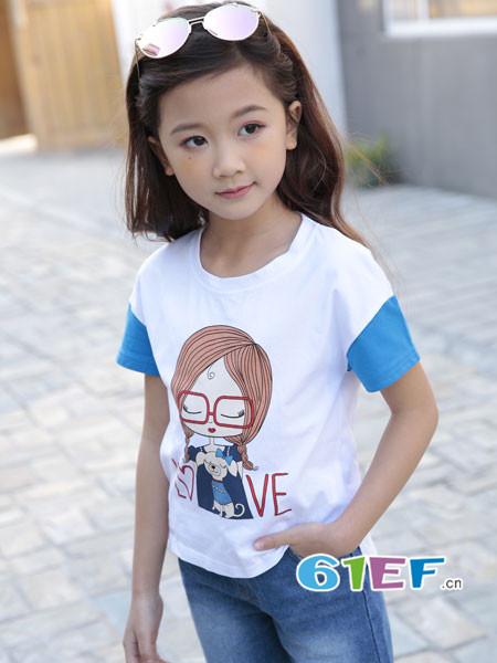土巴兔童装品牌2018春夏时尚休闲卡通拼接女T恤
