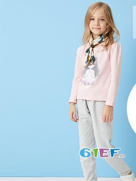 ABC KIDS童装品牌2018春夏长袖女孩上衣纯棉打底衫t恤