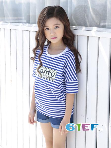 土巴兔童装品牌2018春夏时尚休闲条纹女T恤