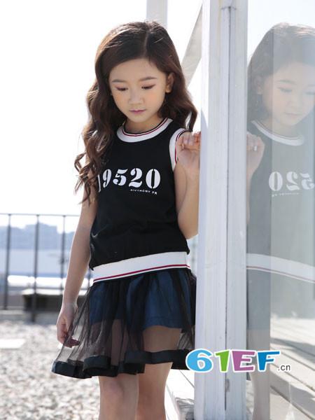 土巴兔童装品牌2018春夏个性休闲字母网纱拼接连衣裙