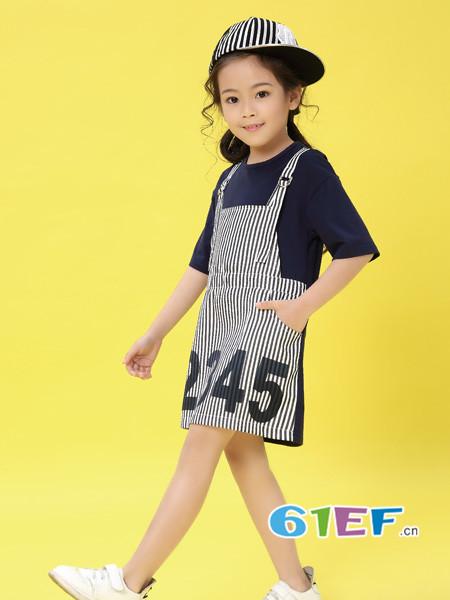 Kimi&Cindy童装品牌2018春夏季新款条纹拼接连衣裙