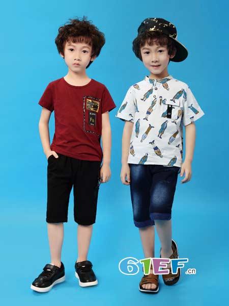 Kimi&Cindy童装品牌2018春夏新款夏季男童休闲木偶短袖
