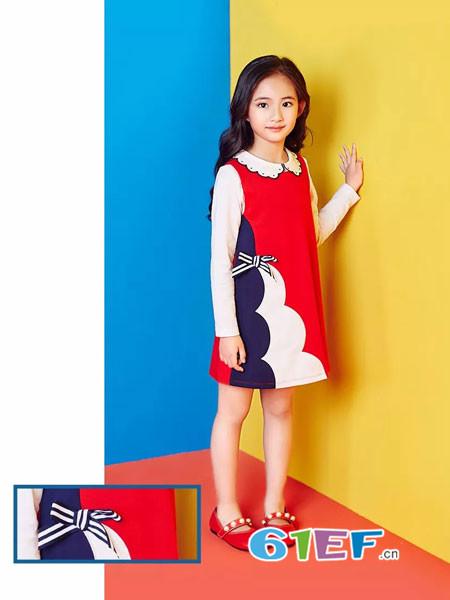 红蜻蜓KIDS童装品牌2018春夏简洁色块条纹蝴蝶结连衣裙