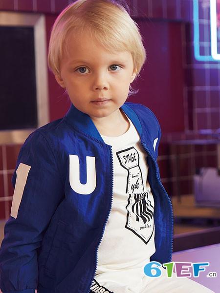 杰米熊童装品牌2018春夏蓝色拉链字母外套