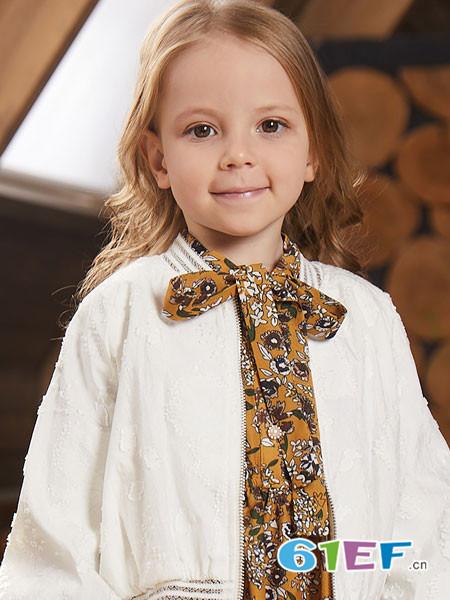 杰米熊童装品牌2018春夏蕾丝系颈带上衣
